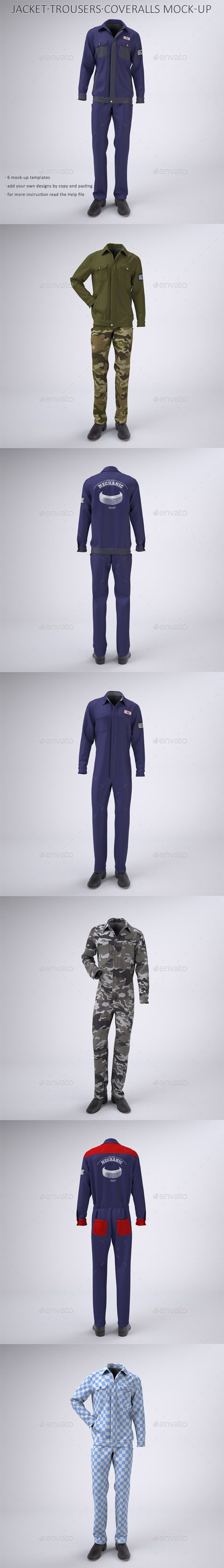 Mechanic Work Uniform With Jacket And Coveralls Mock Up Work Uniforms Clothing Mockup Coveralls