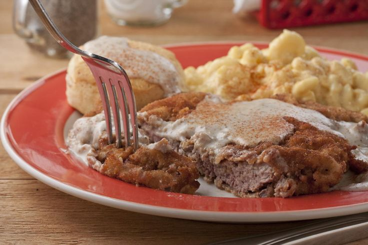 Redneck Chicken-Fried Steak | MrFood.com; not exactly like I make it, no bread crumbs.. I use flour and egg/milk breading station. But love adding cayenne pepper to the mix