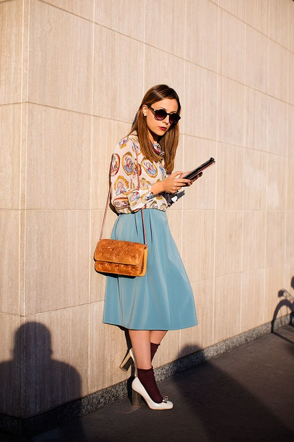 On the Street…. Via Fogazzaro, Milan - The Sartorialist [I won't do socks with pumps, but the colors and proportions really work on this one. That said, it's the blouse and skirt I like the most.]