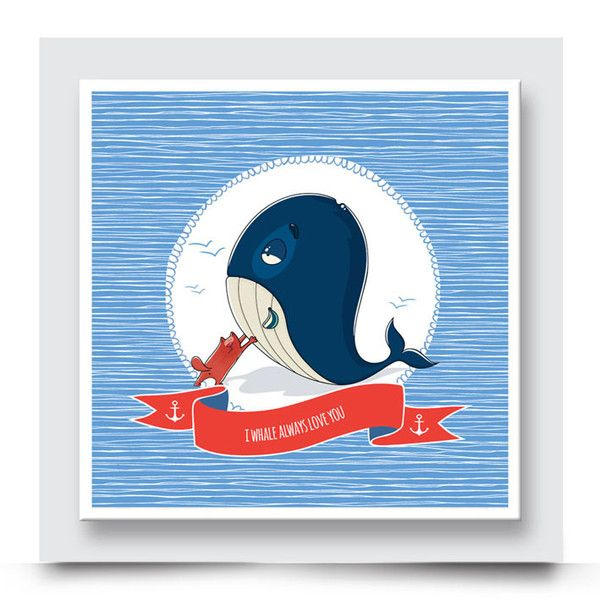THE CAT AND WHALE wall art comes printed on stretched canvas or box framed & can live on its own, or compliment the other nautical artwork in this collection. Add this playful nautical themed artwork to the walls of a boys' nursery, kids room or playroom. Personalise & order your art print from http://www.madicleo.com/collections/wall-art-for-boys-rooms