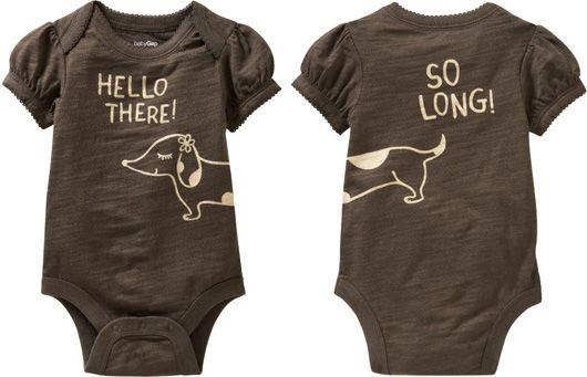 Dachshund bodysuit for the baby!