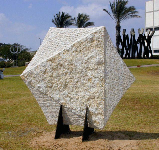 """""""Shield"""". 2004.  Stone.  190 x 200 x 70 cm.  Ganey-Tikva, Israel."""