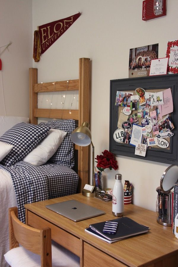 Preppy navy and white college dorm room. Elon University.