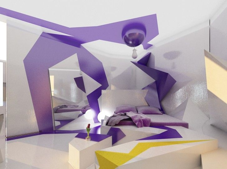 Exquisite Beds For Teenage Girls: Excellent Futuristic Bedroom Design Idea  With Purple White Geometrix Decorating