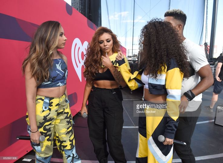 Jade Thirlwall, Jesy Nelson and Leigh-Anne Pinnock of Little Mix backstage during the Daytime Village Presented by Capital One at the 2017 HeartRadio Music Festival at the Las Vegas Village on September 23, 2017 in Las Vegas, Nevada.