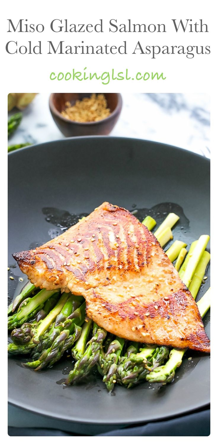 Miso Salmon With Cold Marinated Asparagus Recipe ...