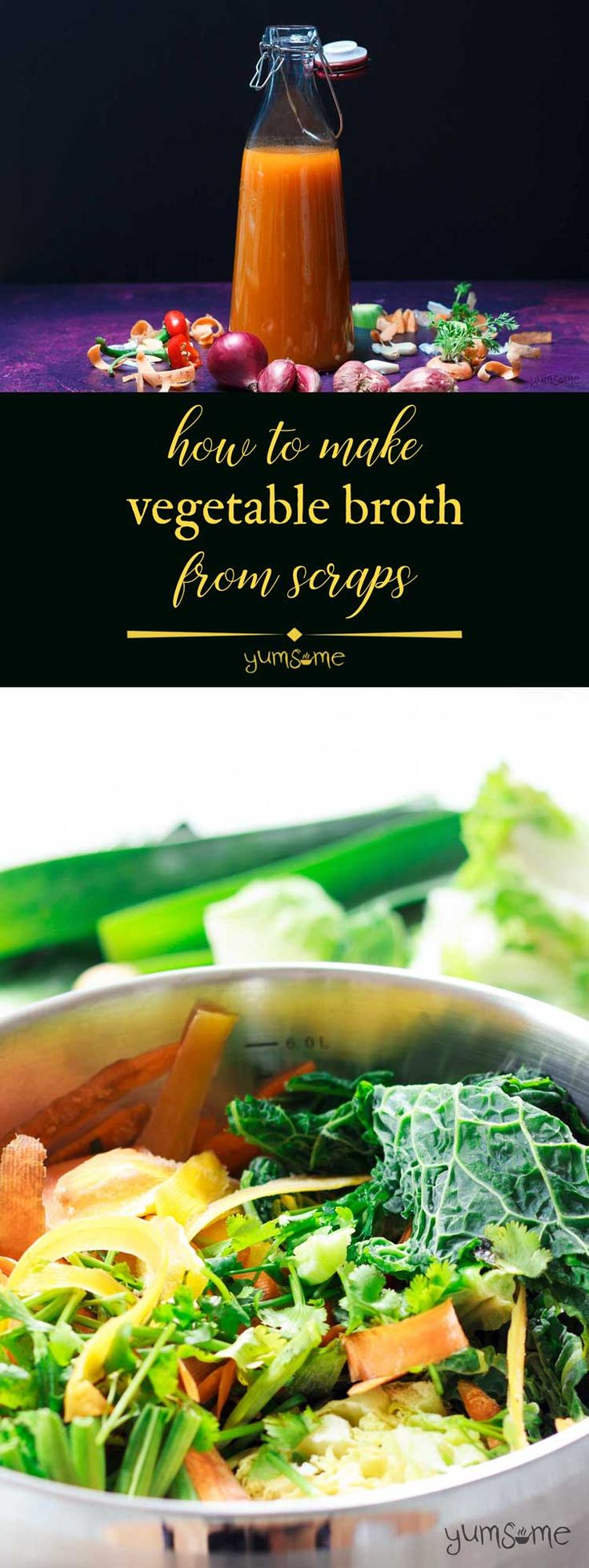 This #vegetable #broth is really simple to make, and requires justone pot, a bag of veggie scraps, and a few herbs. And yes, it's completely #vegan! | yumsome.com via @yums0me