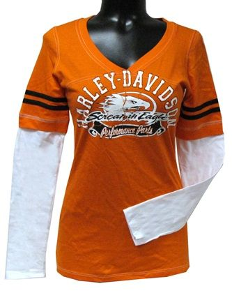 Harley-Davidson® Women's Layered Look Jersey V Neck HARLLT01490