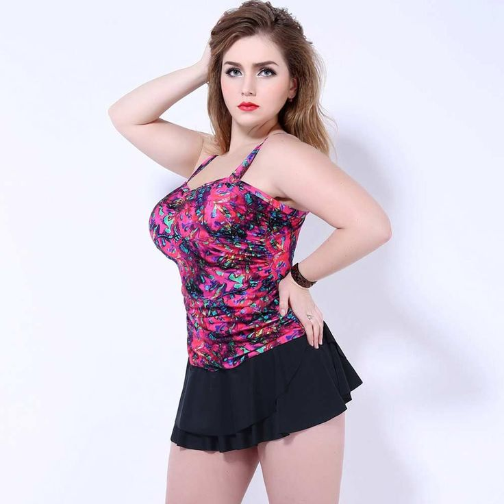 Available in Large Sizes High quality Print Plus Size Multicolor One Peices Swimwear Underwire skirt Sling swimsuit Big size women Bathing suit