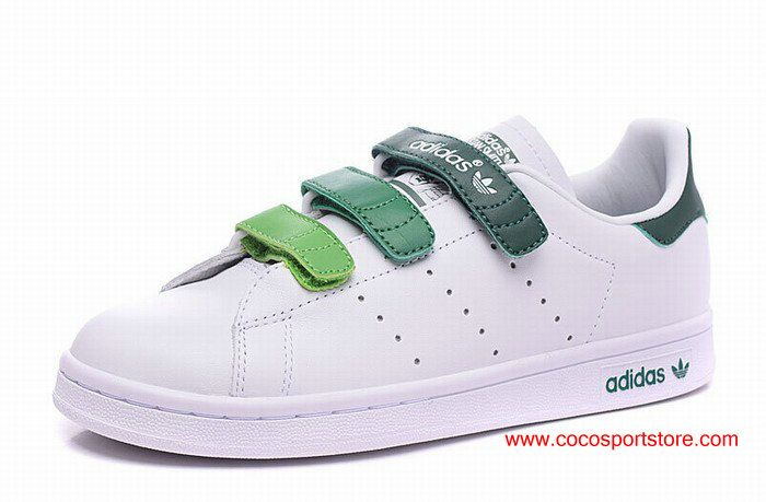 Adidas Stan Smith CF EF AQ5356 White Gradient Green Velcro Womens Shoes