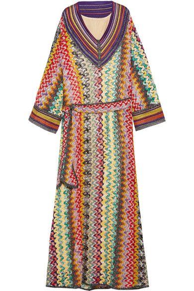Missoni - Belted Metallic Crochet-knit Maxi Dress - Green - IT