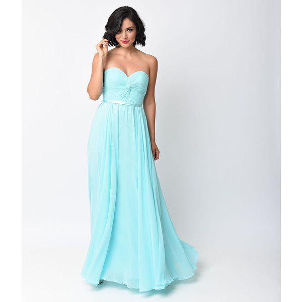 Sky Blue Chiffon Strapless Sweetheart Corset Long Gown (115 CAD) ❤ liked on Polyvore featuring dresses, gowns, light blue, long corset, pleated chiffon maxi skirt, pleated maxi skirt, long chiffon dress and chiffon gown