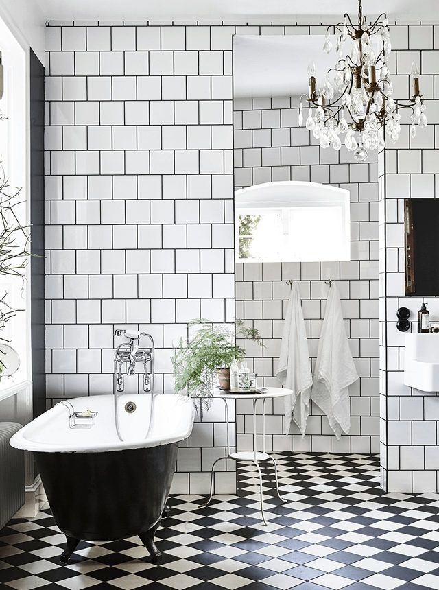 black and white bathroom dark grout