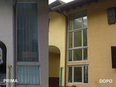 Sostituzione vetrata. La sostituzione del vecchio vetro ha portato ad un elevato risparmio energetico, con un miglioramento termico del 73%. Sono state aggiunte 2 ante apribili per migliorare la ventilazione del vano scale.