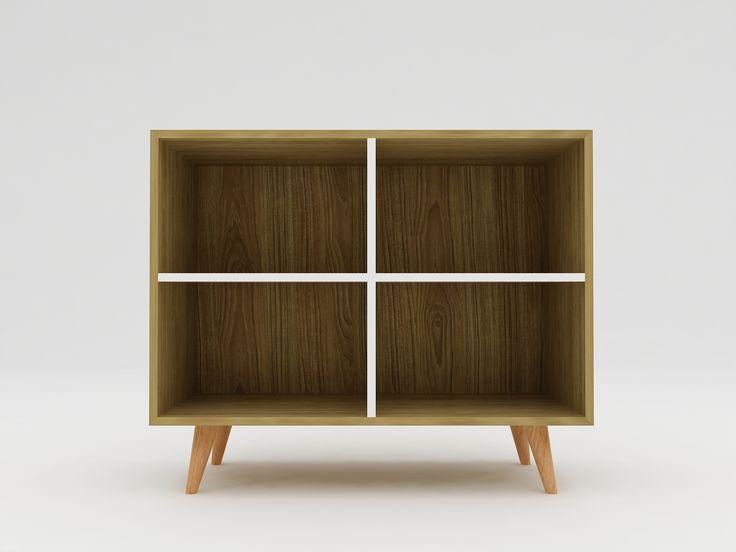 Minimalist modern furniture - Rak Kayu Minimalis 4 pintu dengan kaki mahoni - White Elegant Teak