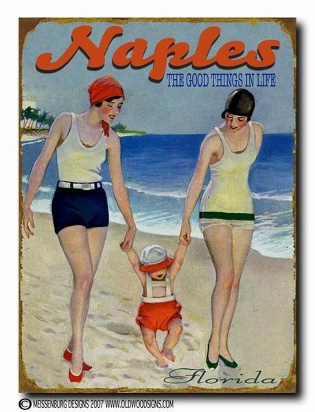 Vintage beach poster Naples, Florida #essenzadiriviera.com www.varaldocosmetica.it/en