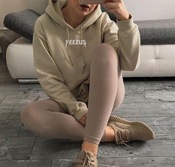 UNISEX Yeezus Kanye West Hoodie Jumper Yeezy Tour Sweatshirt Nude Beige Tan S, M, L, XL