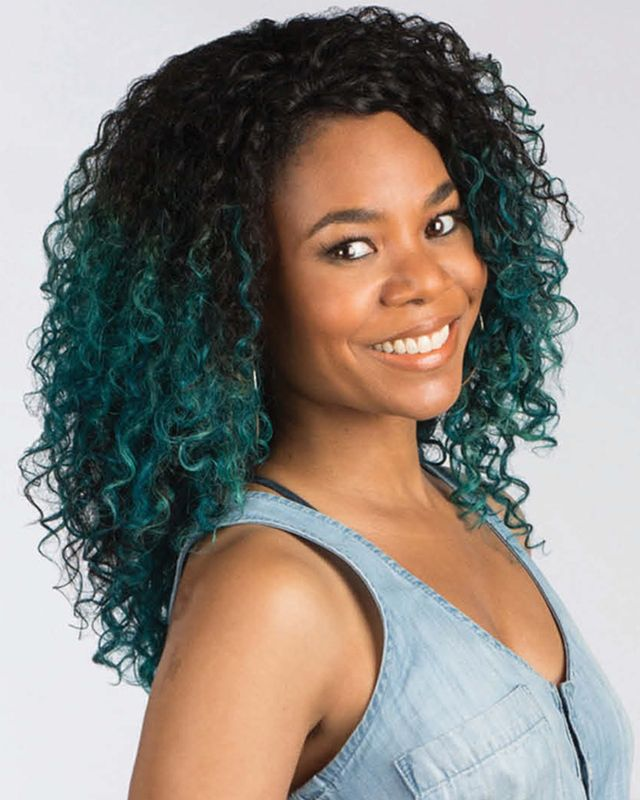 Hollywood Style Regina Hall Talks New Hair Line Blue Green Hair For Barbershop 3 Blue Green Hair Dyed Natural Hair Green Hair