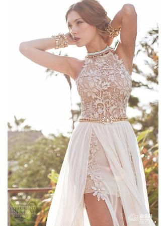 2015 Newest Style Prom Gowns Lace Appliques Beadings Sexy Long Chiffon Evening Dress