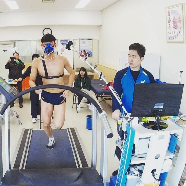 South Korean pentathlon athlete performing VO2max test in the lab (Quark CPET) at the Department of Sport Science KISS Jincheon National Training Center Team Korea