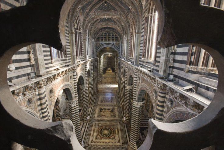 """Secondo il Vasari era il """"pavimento più bello, grande e magnifico"""" che fosse mai stato fatto. Un tappeto di marmo che attraversa la cattedrale di Siena e che, abitualmente, è protetto dal calpestio dei visitatori. Ma dal 18 agosto al 27 ottobre il pavimento del Duomo torna vi"""