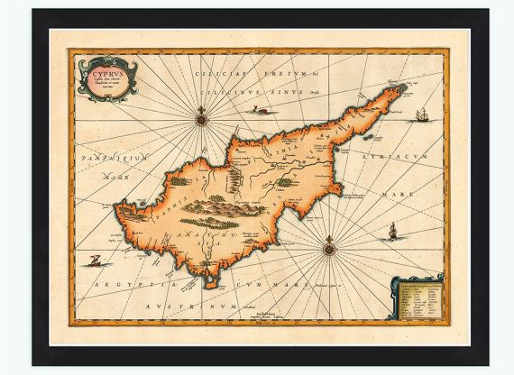 Old Map of Cyprus 1653 by OldCityPrints on Etsy, $26.00