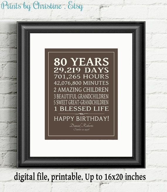 PRINTABLE 80th BIRTHDAY GIFT Adult Birthday Sign Print Personalized Art 80 Years  16x20 Poster Digital Download Keepsake Last Minute Gift