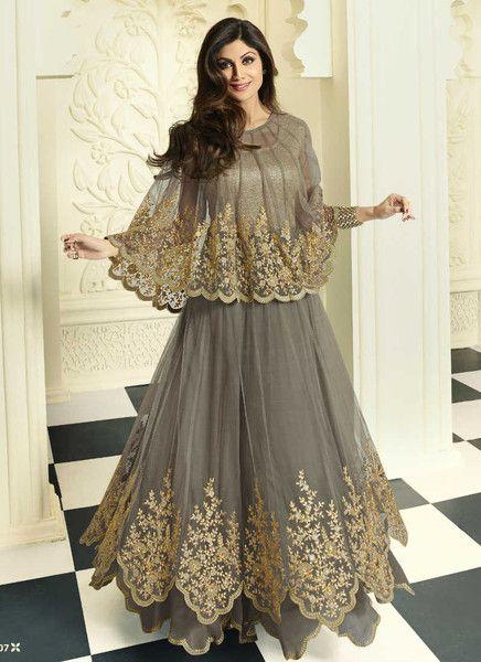 Brown embroidery floor length salwar kameez
