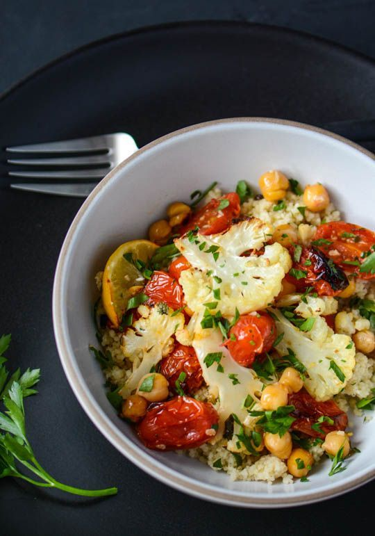 Roasted Cauliflower, Tomato, & Chickpea Bowl | Scaling Back. #healthy #vegan #vegetarian #vegetable #cauliflower #tomato #chickpea #lunch #dinner #recipe