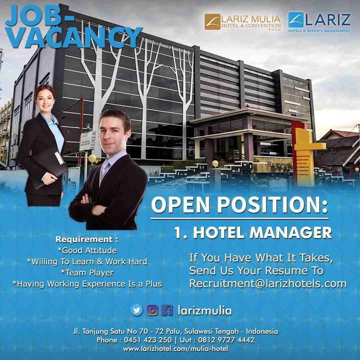Hotel Manager Needed for Lariz Mulia Palu November