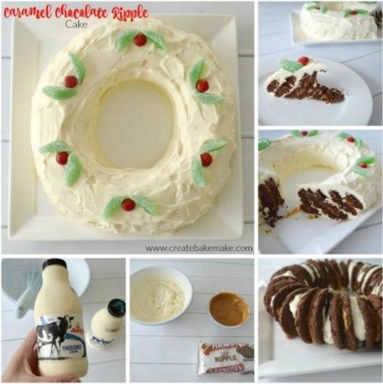 Caramel Chocolate Ripple Wreath Cake