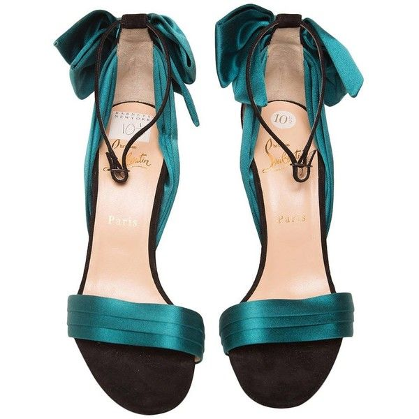 Preowned Christian Louboutin Teal High Heel Sandal ($500) ❤ liked on Polyvore featuring shoes, sandals, green, green satin shoes, ankle strap sandals, teal green shoes, bow shoes and green sandals