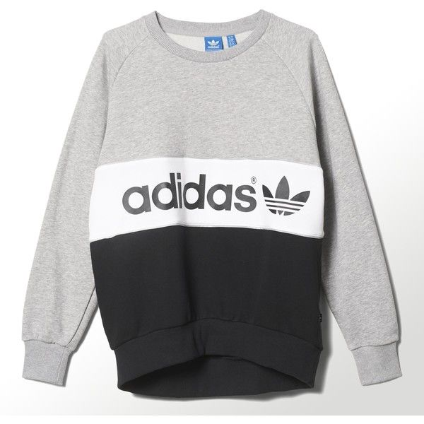 Adidas City Tokyo Sweatshirt (72 CAD) ❤ liked on Polyvore featuring tops, hoodies, sweatshirts, shirts, sweaters, medium grey heather, heather grey shirt, gray crewneck sweatshirt, logo shirts and adidas sweatshirt
