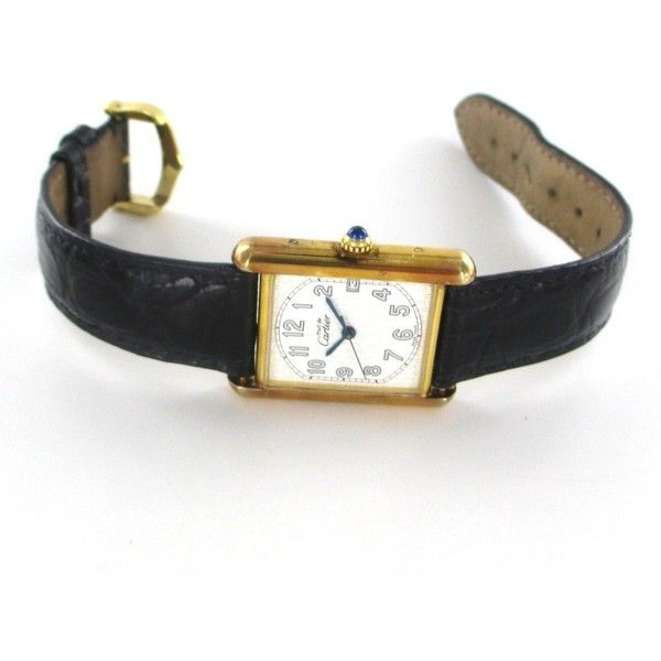 Pre-owned Cartier Watch (125.125 RUB) ❤ liked on Polyvore featuring jewelry, watches, accessories, apparel & accessories, leather bracelet watches, vintage jewelry, adjustable leather bracelet, leather bracelet and leather watches
