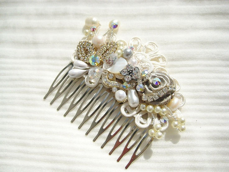 Bridal Hair Comb or Clip in Ivory with Rhinestone, Pearls, Crystal- Vintage Hair Piece $54.00