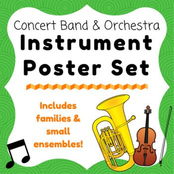 Concert Band and Orchestra Instrument and Families Poster Set This handy set of posters are a great addition to any music room - especially for listening activities! Each poster features one instrument with instrument family label, the clef that each instrument plays in, and a fact!
