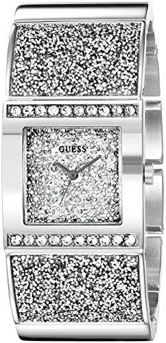GUESS Women's U0650L1 Sparkling  Silver-Tone Watch with Self-Adjsutable Brac...