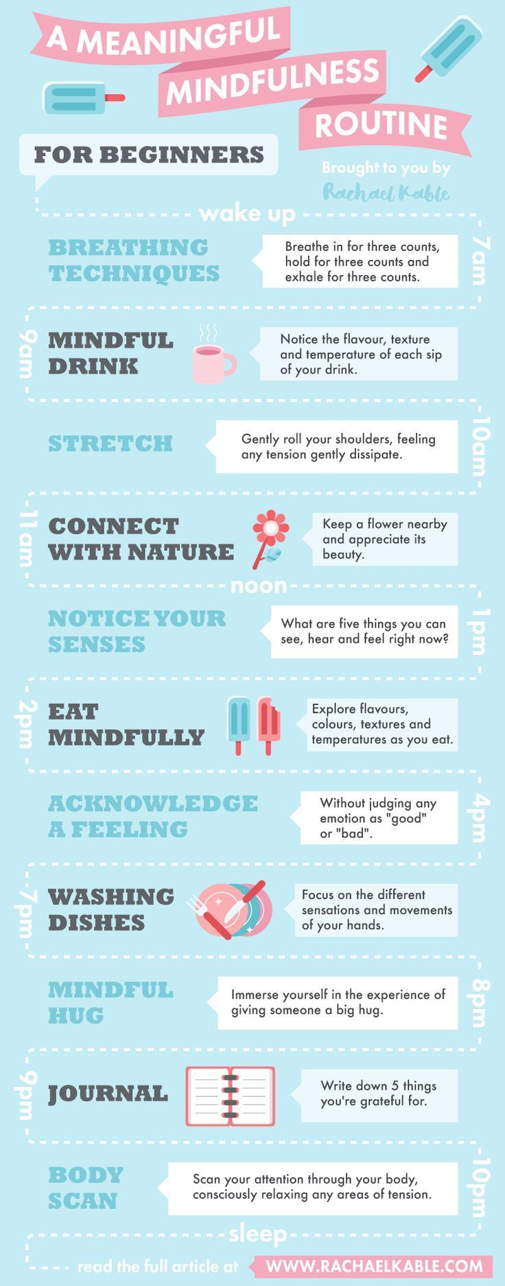 A meaningful mindfulness routine for beginners, including mindful eating, breathing, meditating and more!