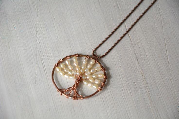 Collana lunga Albero della Vita in rame e perle di fiume femminile ed elegante boho chic hippie di Cuony su Etsy