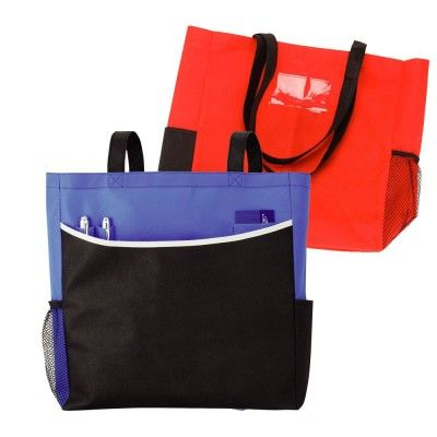Conference Tote Bag. This tote bag is made from recycled non-woven material, with main gusseted pocket and front pocket with pen loops, side drink holder and ID pocket on the back. Features: Packaging: Polybag Colour: Red and Black with White Trim. Material: Recycled non-woven material Product Size: 350mm(w) x 350mm(h) x 100mm(d) Decoration: Screen Print Decoration Area: Screen - On Front Pocket 250mm(w) x 150mm(h) (5073RD_NOTT)
