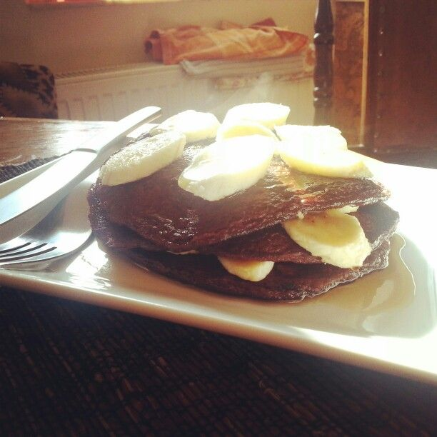 Healthy pancakes made with oatmeal cocoa and banana.