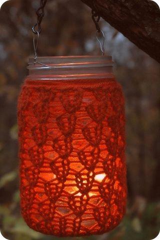 mason jar knit lantern