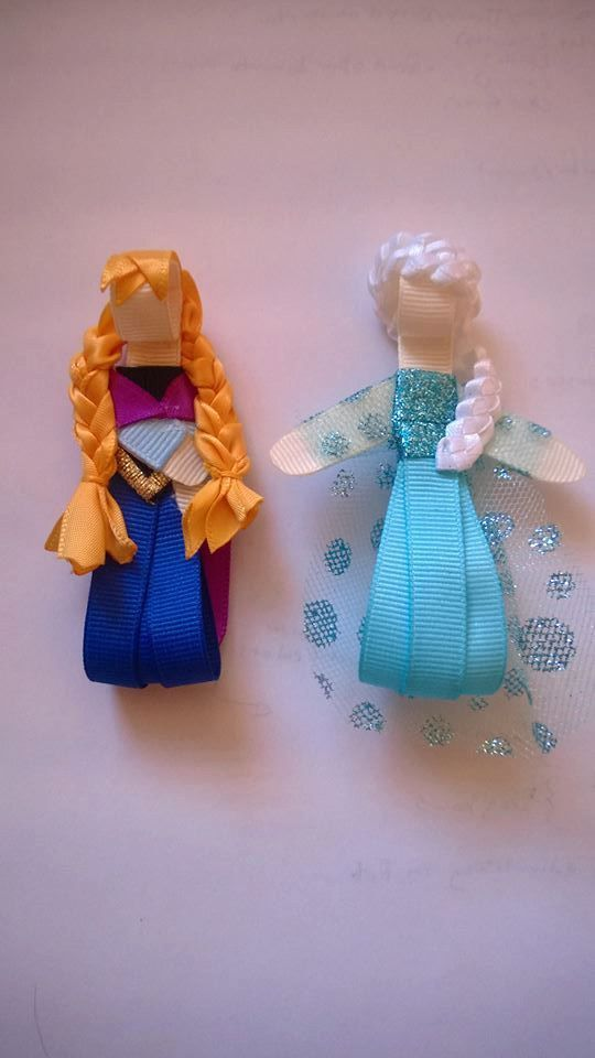 Disney Frozen Inspired Anna and Elsa Hair Clip by Sarabows on Etsy, $6.99