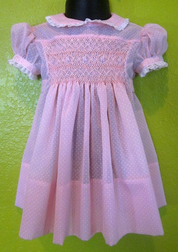Baby Girl Easter Dress And Bonnet Hand Smocked Handmade Using