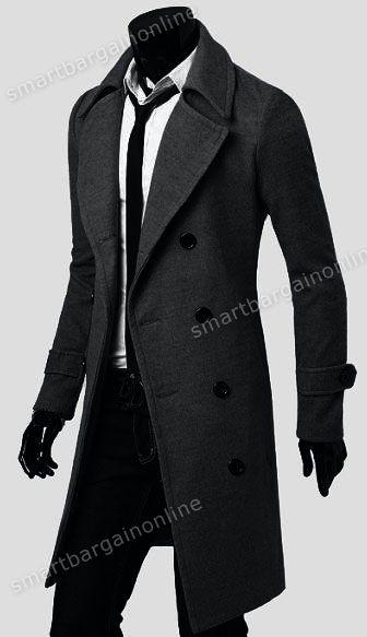 Mens Trench Coat Winter Warm Long Jackets Outwear Double Breasted Overcoat s XXL | eBay