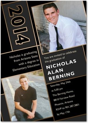Angled Achievement - Graduation Invitations in black. #graduation