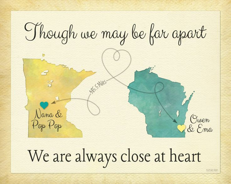 Birthday Gift for Grandma, Moving Away Gift for Grandparents, Long Distance Map Print, Always Close at Heart Quote, Two-State Map Print by KeepsakeMaps on Etsy https://www.etsy.com/listing/223426538/birthday-gift-for-grandma-moving-away