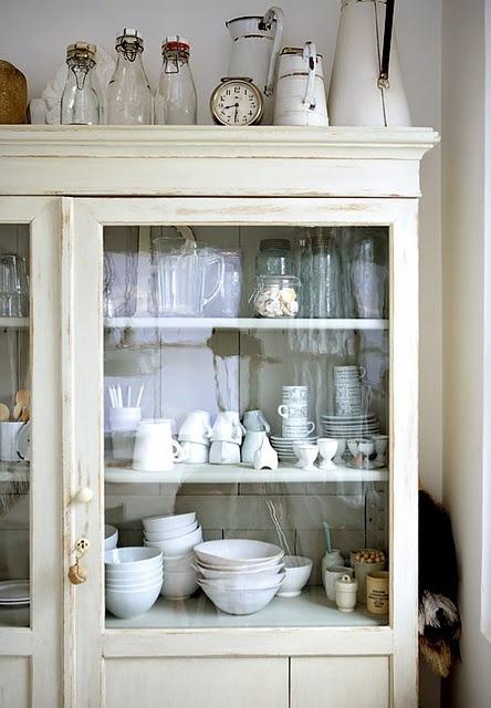 cupboard, white dishware