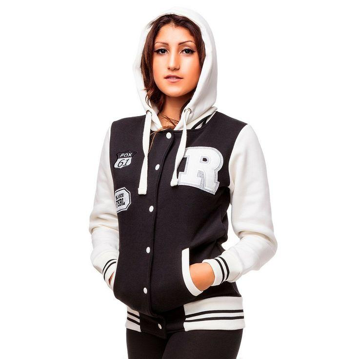 Damen College / Baseball Jacke mit Kapuze - 1011 1011