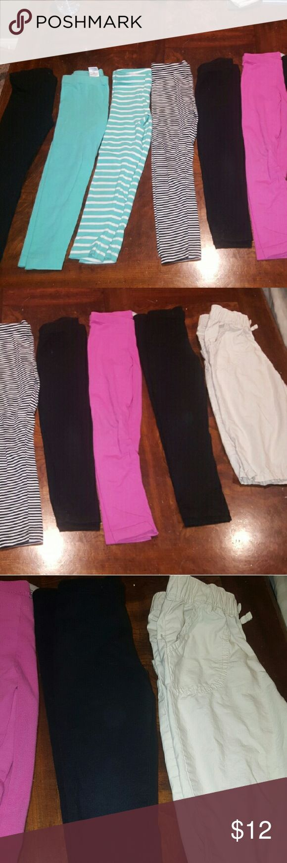 Bundle of leggings 8 You can never go wrong with having too many leggings for your child. 3 black (I buy a lot of black leggings never can have too many) 2 minty blue, 1 stripe black and white, 1 pink, and 1 khaki Capris light weight. Brands: circo aka target, gymboree, children's place, Kirkland- Costco, Bottoms Leggings
